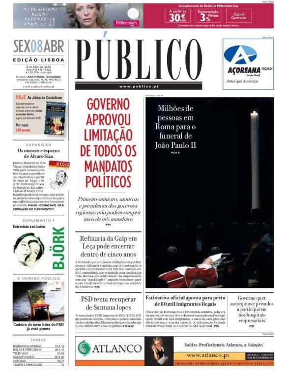 2005-04-08-Público-Primeira_página